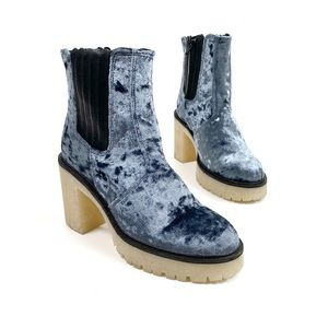 FREE PEOPLE James Chelsea Velvet Chunky Sole Boots